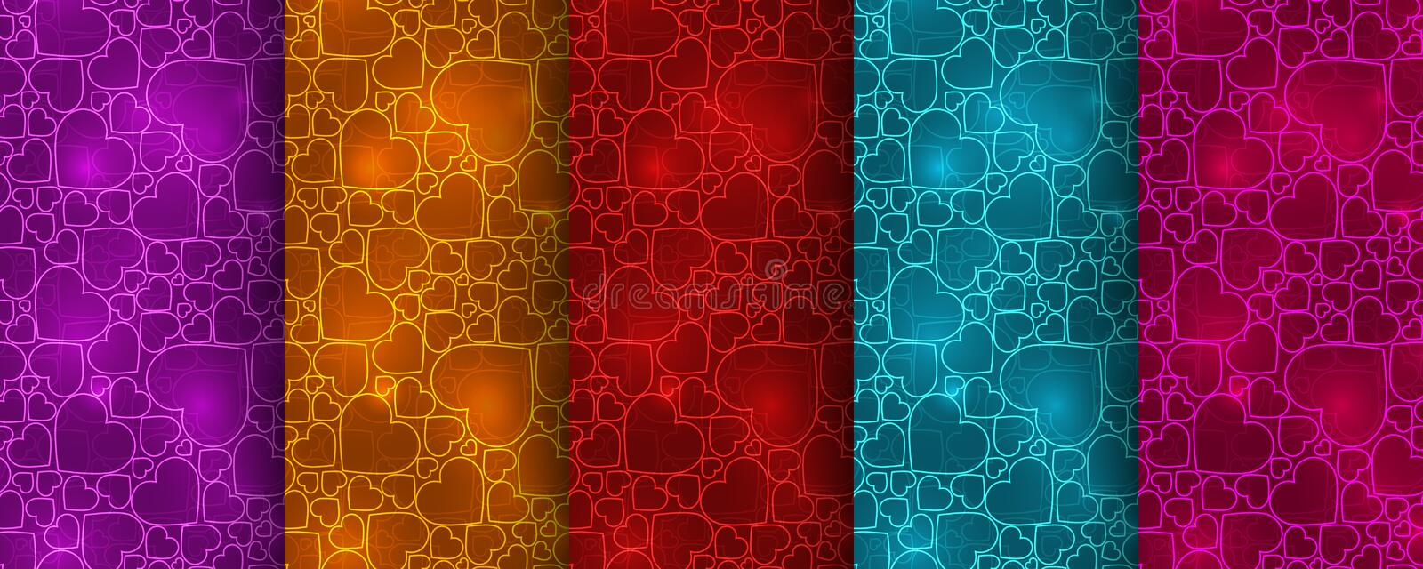 Set of five colorful seamless patterns with neon hearts royalty free illustration