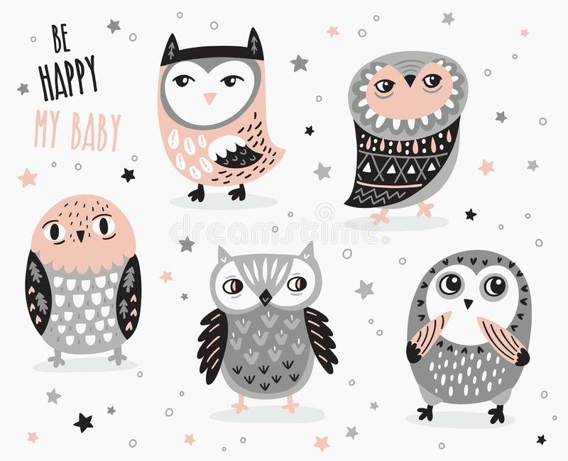 Set of cute cartoon owls with ethnic ornament stock illustration