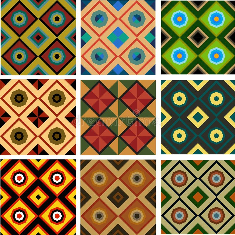 Set of five different colored geometric seamless patterns stock illustration