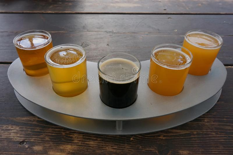 A flight of craft beers stock images