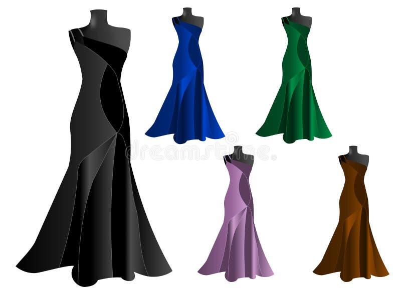 Set of five elegant dresses, cdr vector stock image