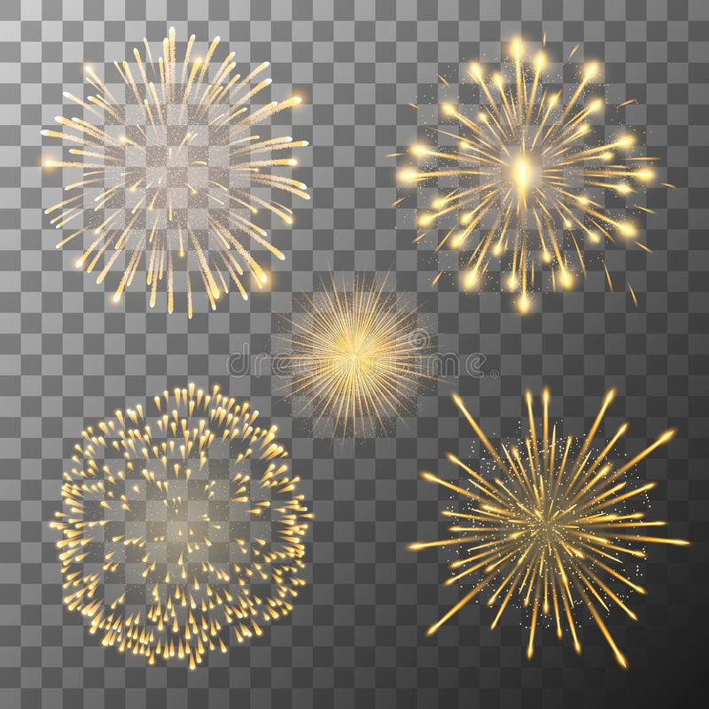 Set of five fireworks bursting in various shapes. Firework explosion in night. Firecracker rockets bursting in big. Set of five vector fireworks bursting in stock illustration