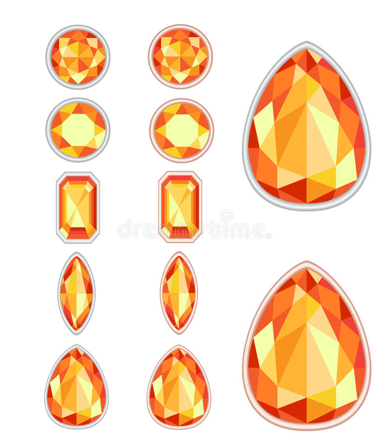 Set of five forms of amber. Cut and two kinds of frames (silver and gold royalty free illustration