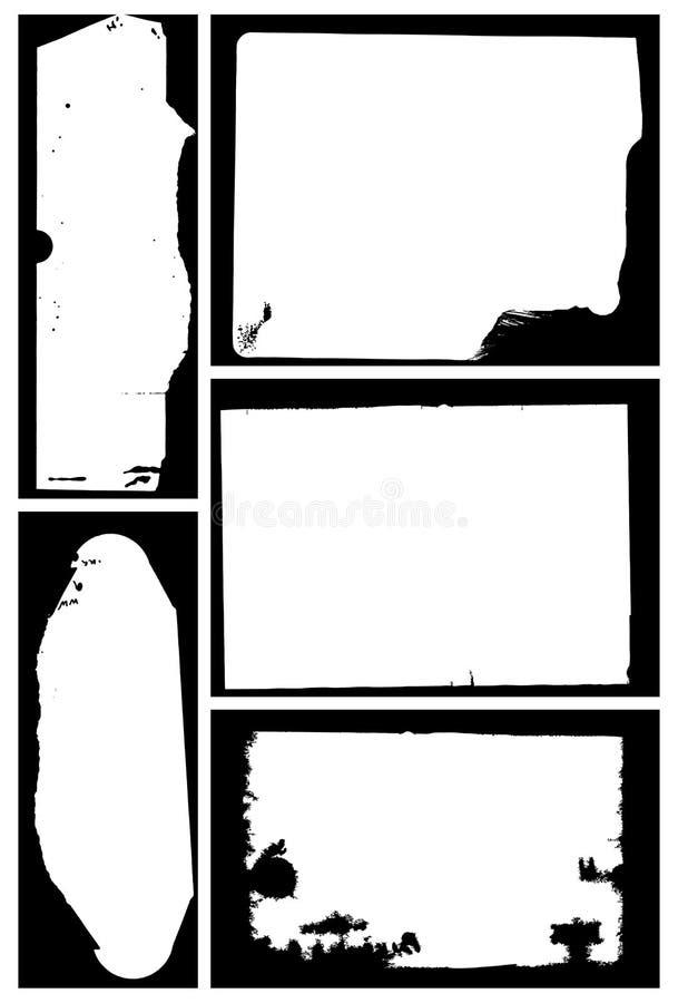 Set of five grunge frames. Distressed border frames. stock illustration