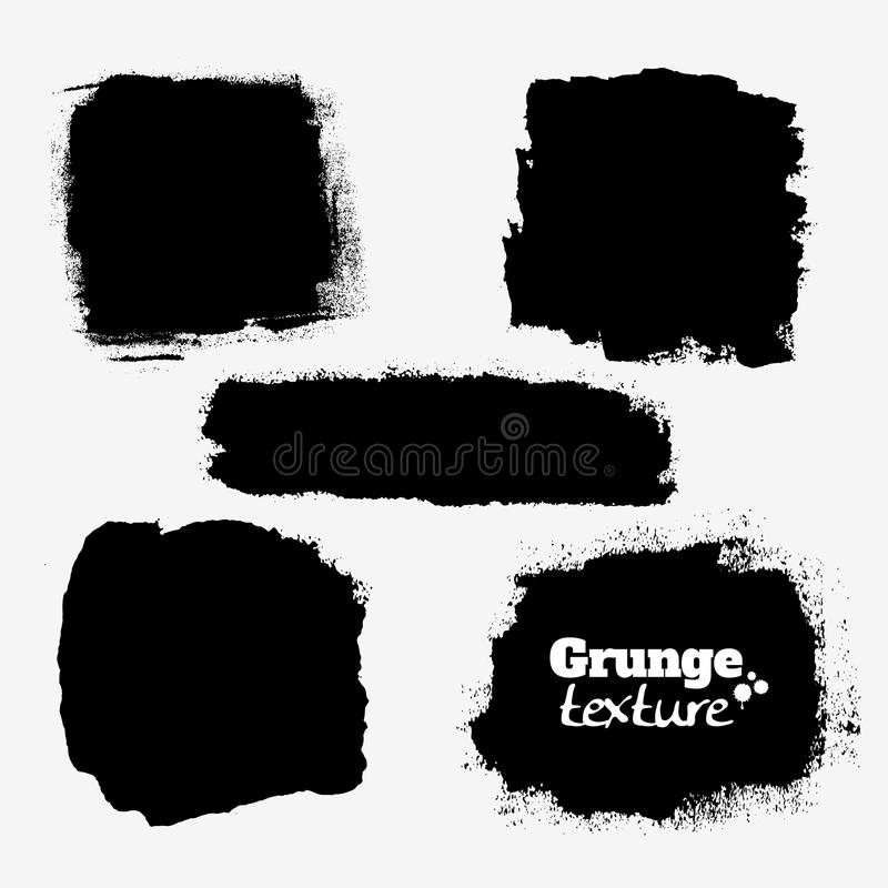 Set of five grungy paint stains, background textures stock illustration