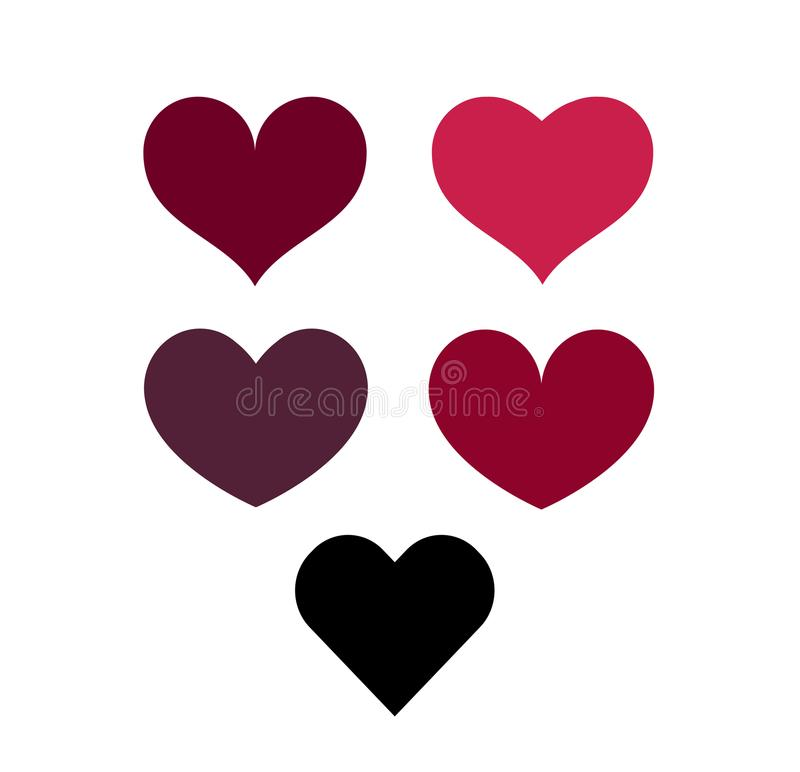 Set of five hearts vector image isolated royalty free stock photo