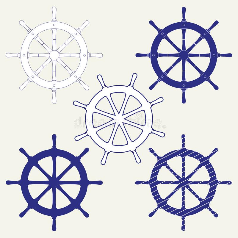 A set of five icons of the ship`s steering wheels. Isolated vector illustration on gray background. vector illustration