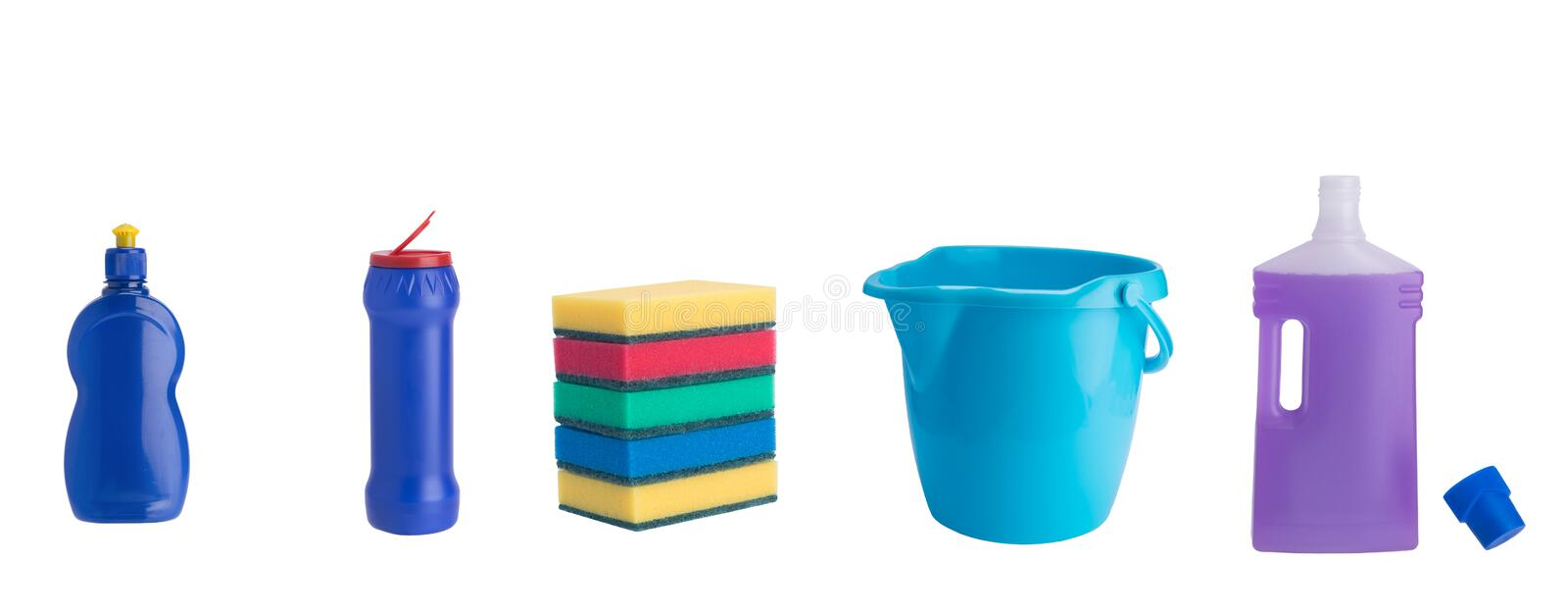 Set of five items for cleaning indoors isolated on white stock images