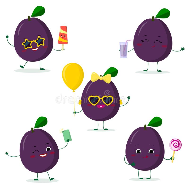 A set of five Kawaii cute plum purple fruit in cartoon style. In glasses with ice cream, with a balloon, with a lollipop, with. Juice, with a selfie phone. Flat vector illustration