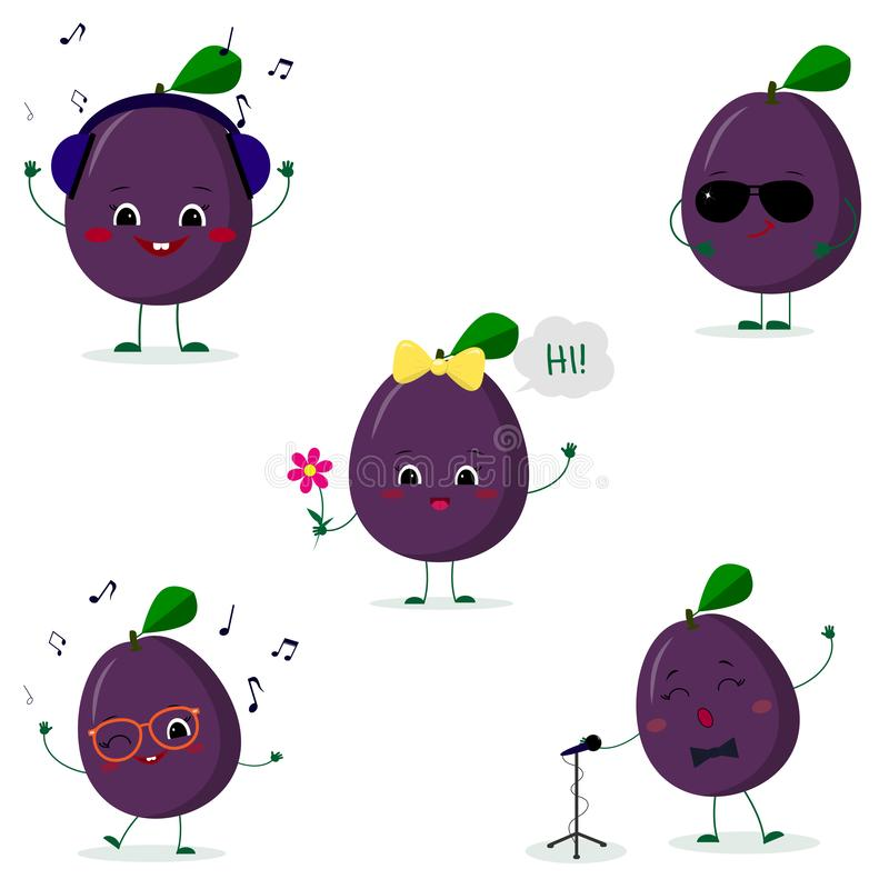 A set of five Kawaii cute plum purple fruit in a cartoon style. In headphones, in sunglasses, dancing in glasses , with a flower,. Singing into the microphone stock illustration