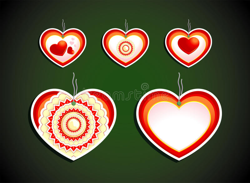 Download Set Of Five Labels On Dark Background. Hearts Stock Vector - Image: 22613381