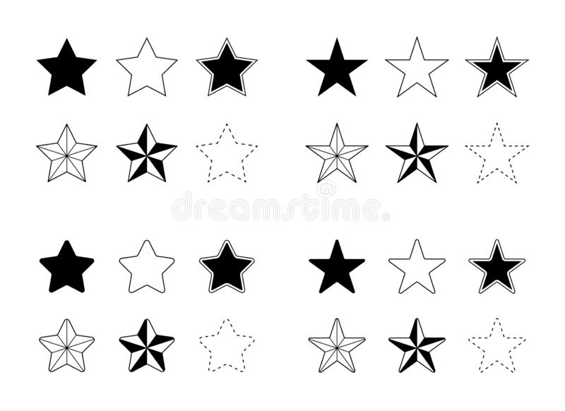 Stars Vector Icons Set Flat Single Color Solid and Outlines stock illustration
