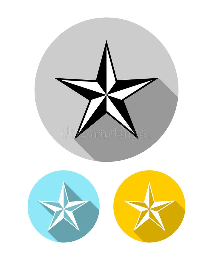 Set of five pointed star icons with long shadow in flat style vector illustration