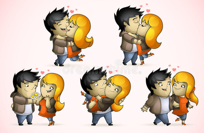 Set Of Five Positions Loving Couple Stock Image