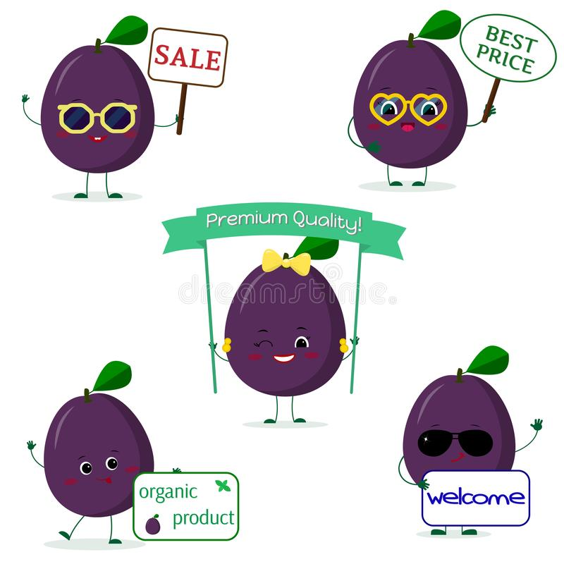 A set of five Kawaii cute plum purple fruit in cartoon style. With different plates and glasses. Logo, template, design. Flat,. A set of five ripe Kawaii cute royalty free illustration