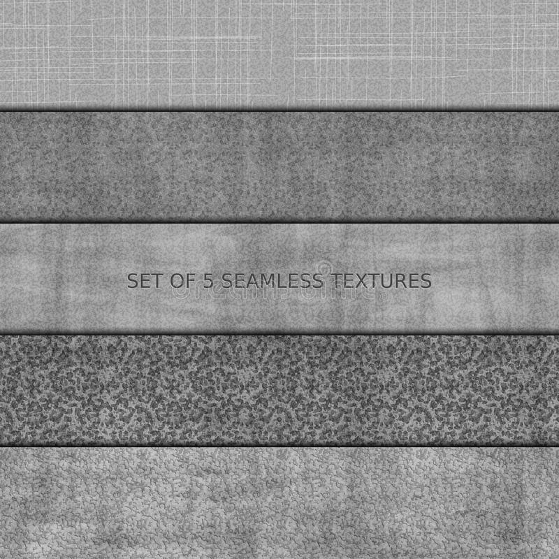 Set of five seamless relief texture of stone stock illustration