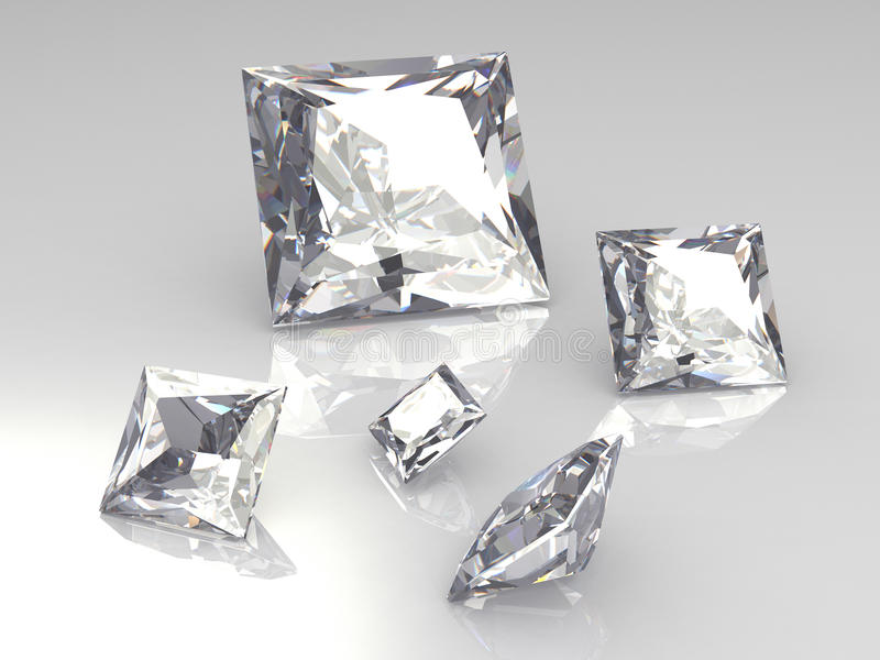Set of five square diamond stones - 3D. Rendering royalty free illustration