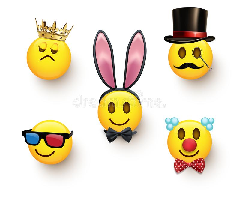 Set of five unusual emojis isolated on white background. Vector design elements. vector illustration