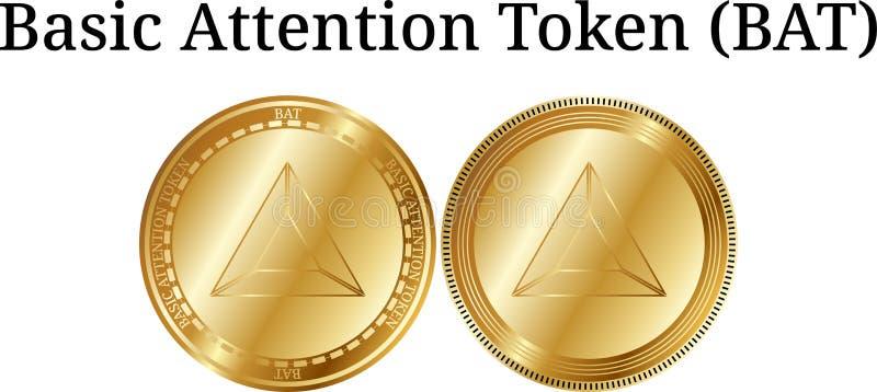 Set fizycznej złotej menniczej Podstawowej uwagi Symboliczny nietoperz, cyfrowy cryptocurrency Podstawowej uwagi nietoperza ikony ilustracja wektor