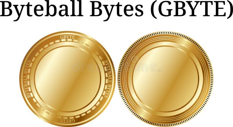 Set fizyczni złoci menniczy Byteball bajty GBYTE, cyfrowy cryptocurrency Byteball bajtów GBYTE ikony set ilustracji