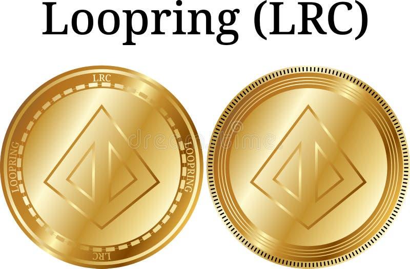Set fizyczny złoty menniczy Loopring LRC, cyfrowy cryptocurrency Loopring LRC ikony set ilustracja wektor