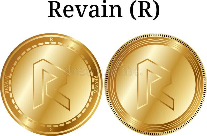 Set fizyczny złoty menniczy Revain R, cyfrowy cryptocurrency Revain R ikony set ilustracji