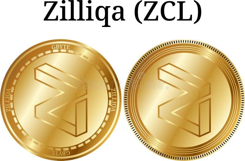 Set fizyczny złoty menniczy Zilliqa ZIL, cyfrowy cryptocurrency Zilliqa ZIL ikony set ilustracja wektor