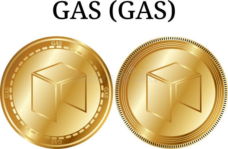 Set fizyczny złoty moneta gazu gaz, cyfrowy cryptocurrency BENZYNOWY BENZYNOWY ikona set ilustracji