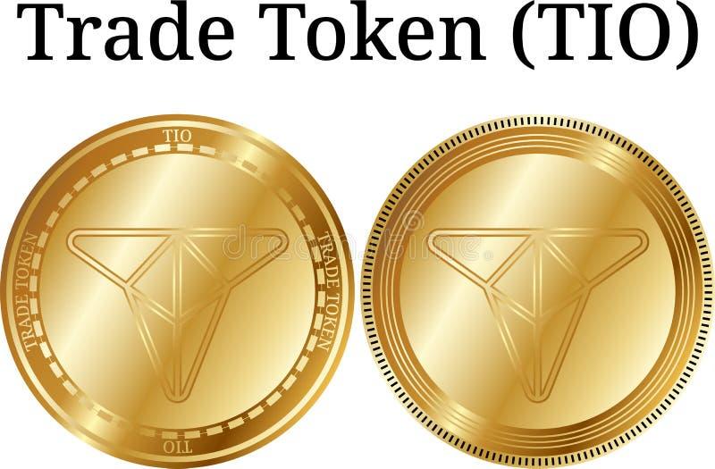 Set fizyczny złoty moneta handlu żeton TIO, cyfrowy cryptocurrency Handlowy żetonu TIO ikony set royalty ilustracja
