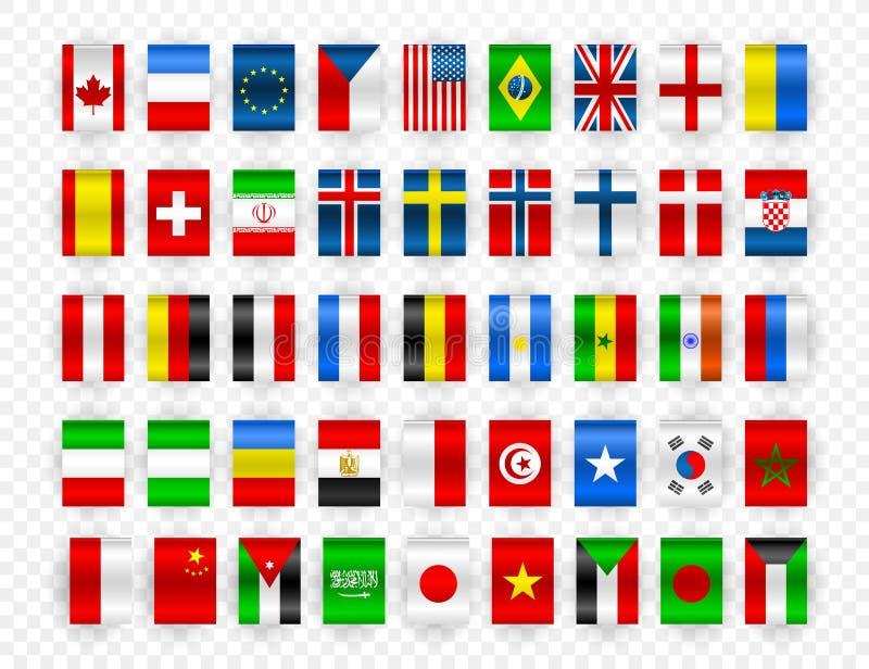 Set flaga światowi suwerenne państwa Kolorowe flaga różni kraje świat i Europe również zwrócić corel ilustracji wektora royalty ilustracja