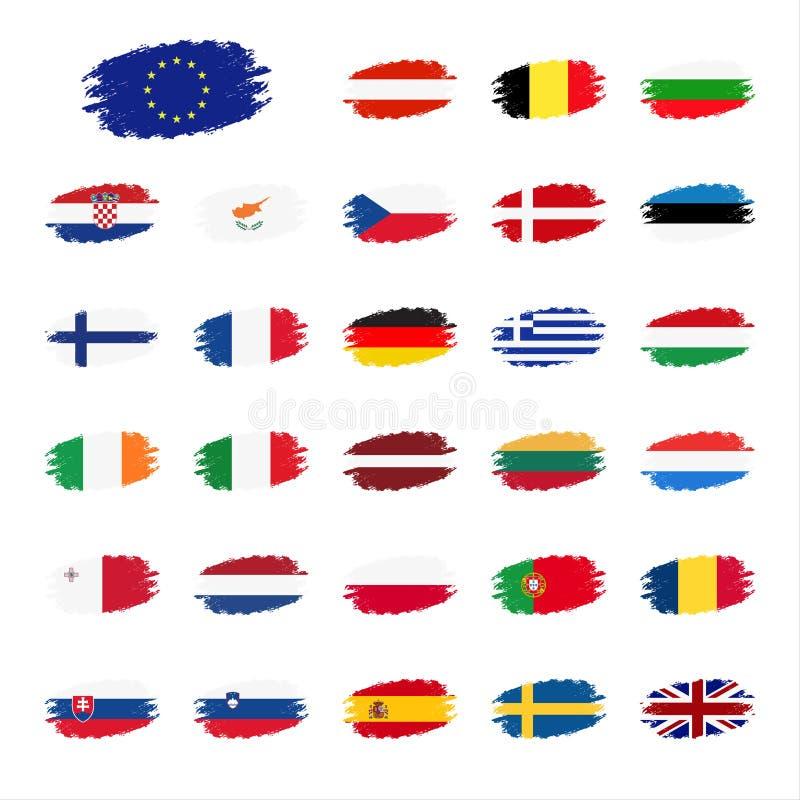 Set flaga Europejskiego zjednoczenia kraje ilustracji