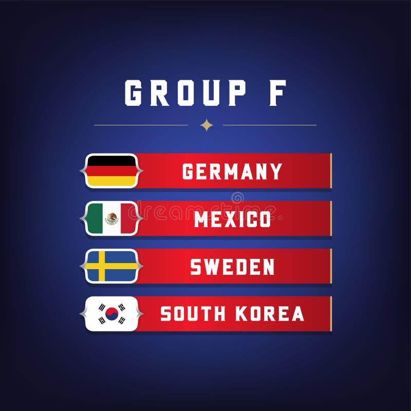 Set flaga państowowa Futbolowy mistrzostwo Grupuje F Światowy piłka nożna turniej ilustracja wektor