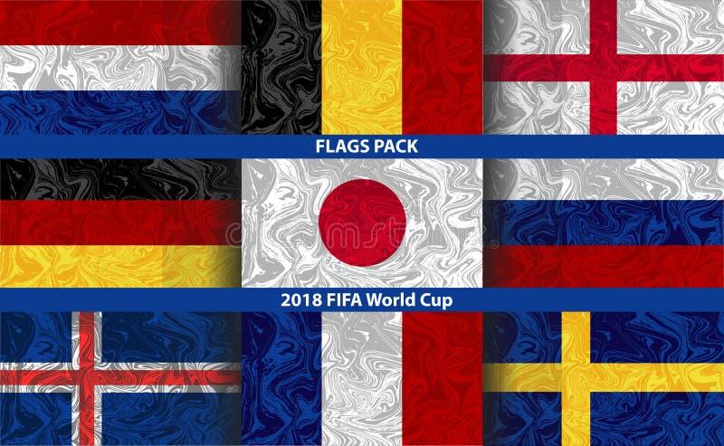 Set 9 flaga państowowa z skutkiem fading farba w wodzie ilustracja wektor