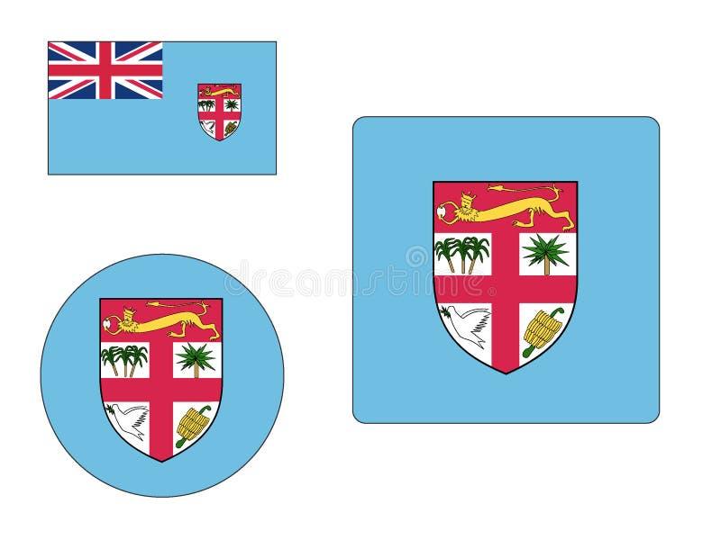 Set flagi Fiji ilustracji