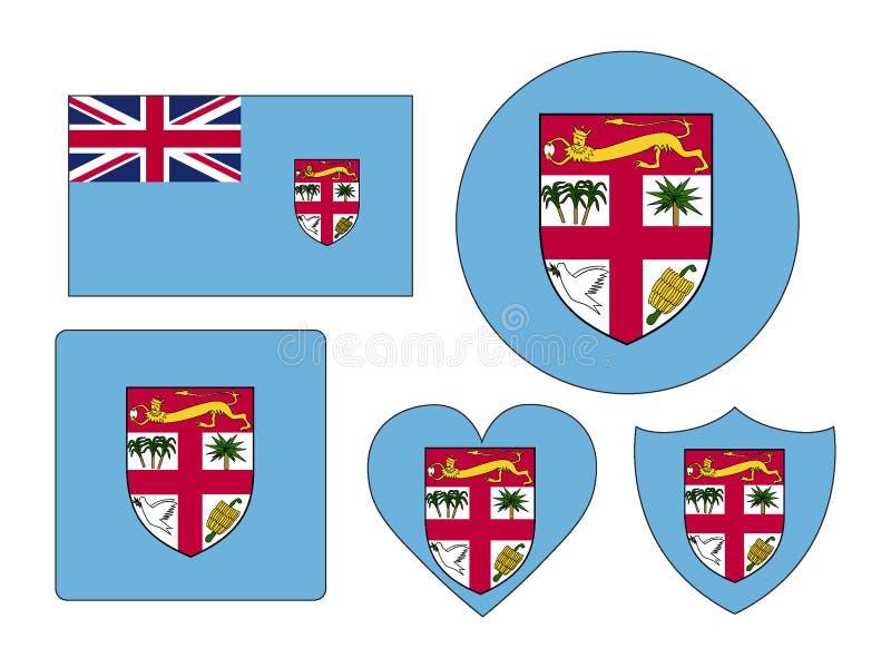 Set flagi Fiji royalty ilustracja