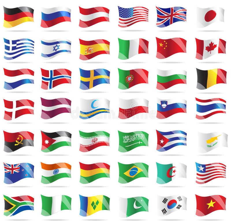 Set of flags. Glossy buttons. Raster version of vector illustration + EPS additional format stock illustration
