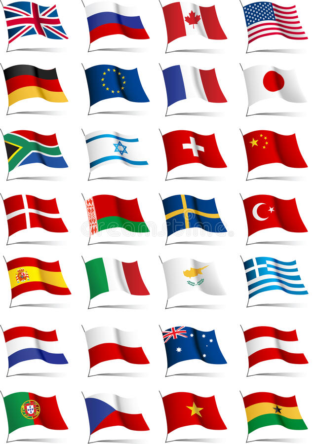 Set of flags. All elements and textures are individual objects. Vector illustration scale to any size stock illustration