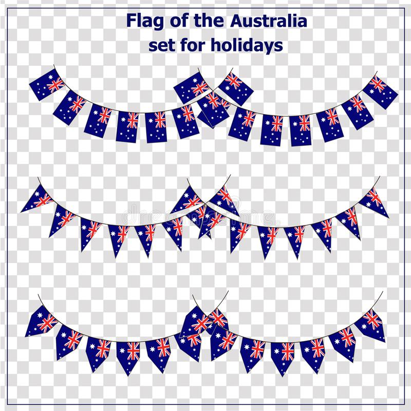 Set with flags of Australia. Happy Australia day background. vector illustration
