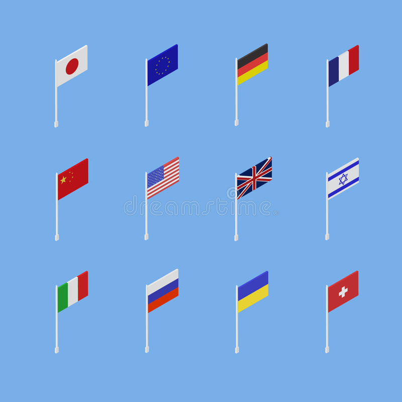 Set of flags of different countries is an isometric 3D. vector illustration