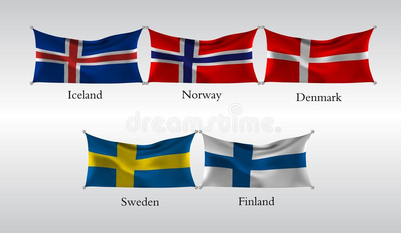 Set Flags of European countries. Waving flag of Iceland, Norway,Denmark, Sweden, Finland . Vector illustration vector illustration
