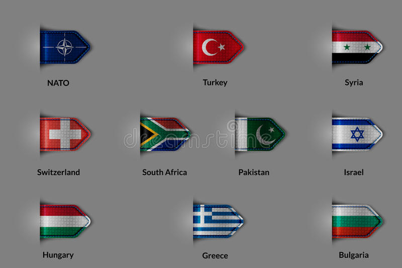 Set of flags in the form of a glossy textured label or bookmark. NATO Turkey Syria Switzerland SOUTH AFRICA Pakistan Israel. Hungary Greece Bulgaria. Vector stock illustration