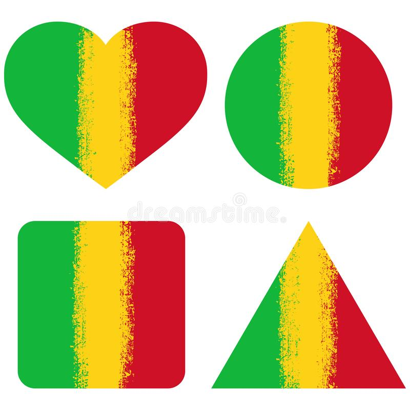 Set 4 Flags Of Mali stock photos