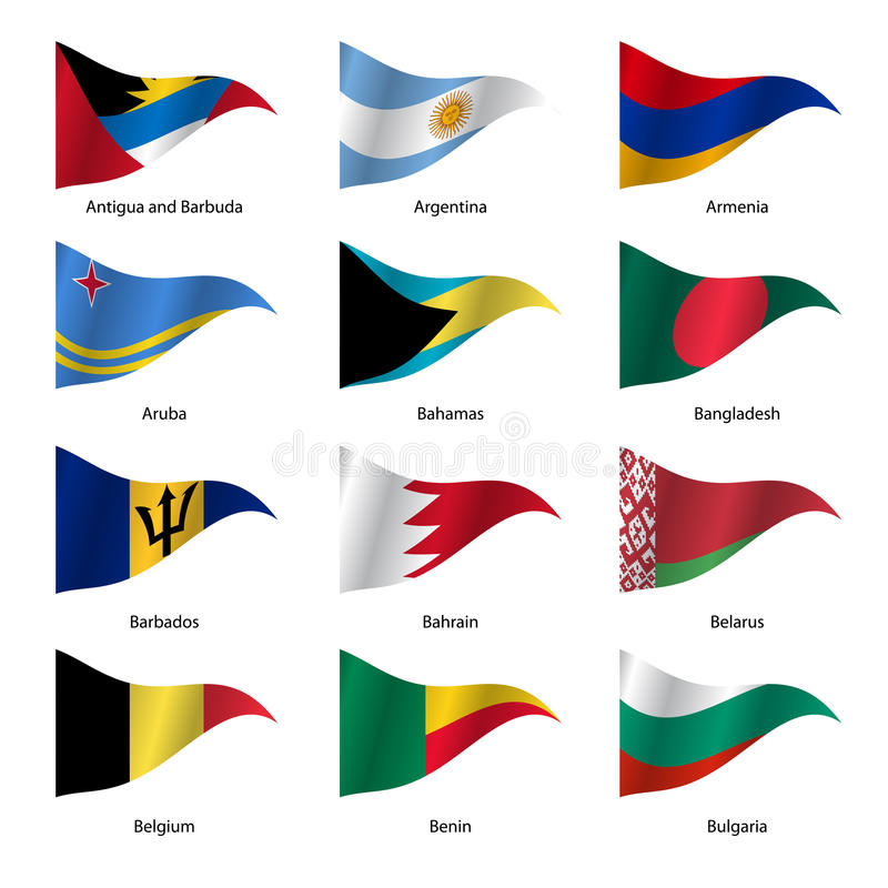 Free Set Flags Of World Sovereign States. Vector Stock Image - 55965891