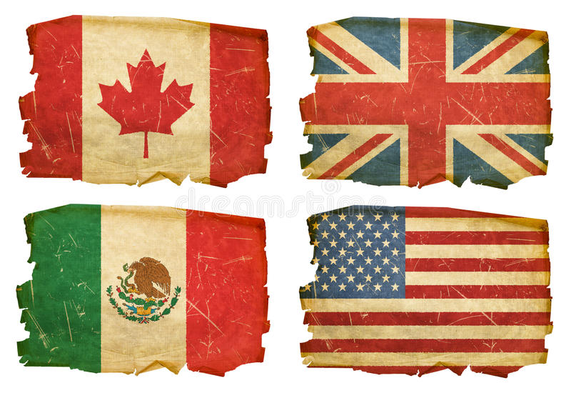 Download Set Flags old #1 stock illustration. Image of english - 22990173