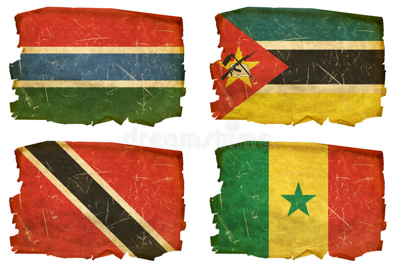 Set Flags old # 22. Set Flags old, isolated on white background. Gambia, Mozambican, Trinidad and Tobago, Senegal vector illustration