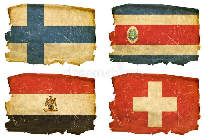 Set Flags old # 26. Set Flags old, isolated on white background. Finland, Costa Rica, Egypt, Switzerland vector illustration