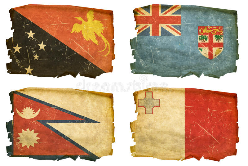 Set Flags old # 43. Set Flags old, isolated on white background. Papua New Guinea, Fiji, Nepal, Maltese stock images