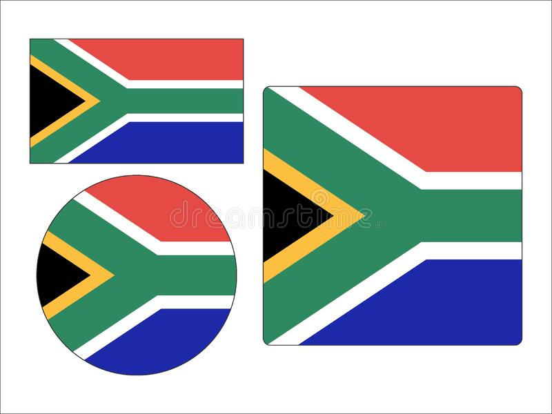 Set of Flags of South Africa. Vector illustration of the Set of South Africa stock illustration