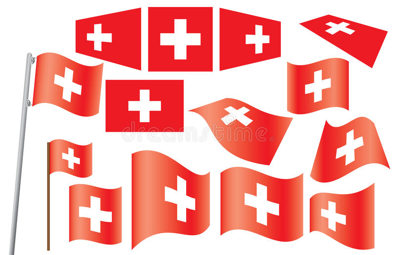 Set of flags of Switzerland