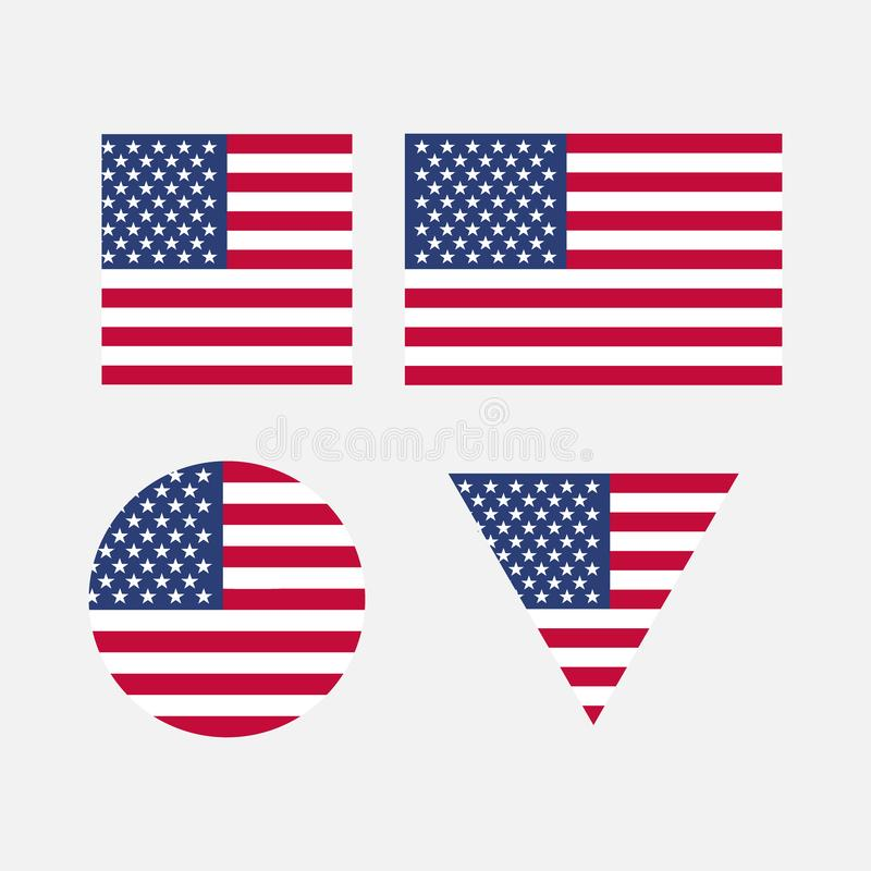 A set of flags of the United States of America. Flags of different shapes. Independence Day. Vector illustration. EPS10 royalty free illustration